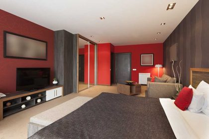 Spacious luxury hotel room interior